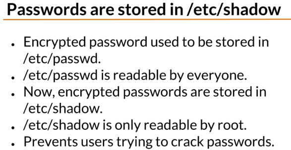 password are stored in etc shadow